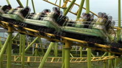 People in Roller Coaster, Taipei Children's Amusement Park Stock Footage