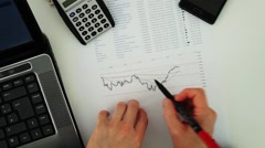Hand writing at business document Stock Footage