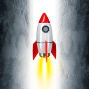 Space rocket on grey - stock illustration