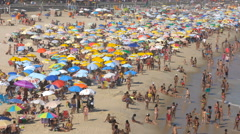 Crowded Beach full of people in Rio De Janeiro Stock Footage