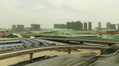 Panorama of a Huge Construction Site Shenzhen Guangdong China - stock footage