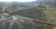 4K Aerial, Flight over a railroad bridge nad surroundings, Andalusia, Spain Stock Footage