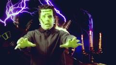 Frankenstein man frankenstien horror movie effects lab Stock Footage