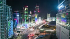 Seoul City Night Shopping Area Timelapse Stock Footage