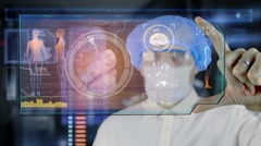 Doctor with futuristic hud screen tablet. lungs, bronchi. Medical future - stock footage