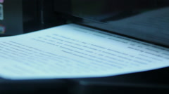 The printer prints text on paper Stock Footage