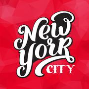 Stock Illustration of New York city typography brush pen design.