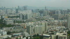 Aerial View of Chinese City Shenzhen Guangdong Summer Day Stock Footage