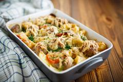 Vegetable casserole with potatoes and meatballs Stock Photos