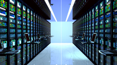 Datacenter,  terminal monitor in server room. - stock footage