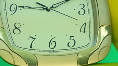 The clock seconds hand on a green background Stock Footage