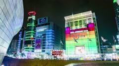 Seoul City Night Shopping Area Timelapse - stock footage