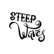 Steep Waves. Surfing Print - stock illustration