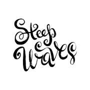 Steep Waves. Surfing Print Stock Illustration