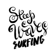Steep Waves Surfing - stock illustration