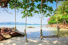 Seesaw on the beach of a tropical - stock photo