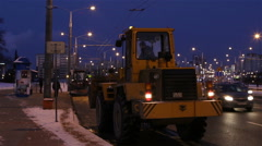 Workers carry out snow cleaning Stock Footage