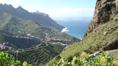 Small village on the hills in the north of Tenerife Stock Footage