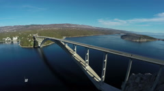 Krk Bridge on a sunn day, Krk Island, aerial shot Stock Footage