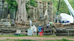 Workers restoring an ancient temple site. Video 1920x1080 - stock footage