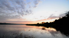 Sunrise over the River Nile, Murchison Falls National Park, Uganda, Africa Stock Footage