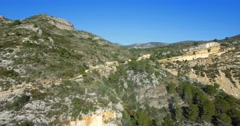 4K Aerial, Flight over an epic Andalusian landscape with wide angle view, Spa Stock Footage