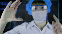 Doctor with futuristic hud screen tablet.Human brain xray. Stock Footage