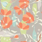 Vector seamless pattern with floral elements, spring flowers, poppies and vas Stock Illustration
