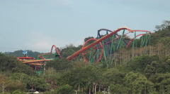 Roller coaster of Janfusun Fancyworld Jian Hu Shan Theme Park in Yunlin, Taiwan - stock footage