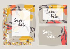 Wedding invitations, collection of vector wedding set with floral seamless pa - stock illustration