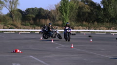 Training motorcycle driving skills Motoschool Stock Footage