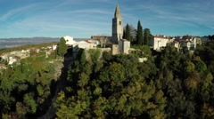 Church and buildings in Dobrinj Town on Krk Island, aerial view - stock footage