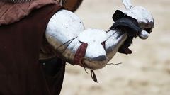 Duel of two strong knights in steel and heavy armor. Middle Ages. Tournament Stock Footage