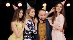 Male birthday with their girlfriends posing at a birthday party Stock Footage