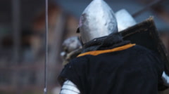 Battle between two aggressive and strong opponents, medieval knights. Slowmotion - stock footage