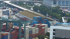 Hundreds of stacked shipping containers at Singapore's main port Stock Footage