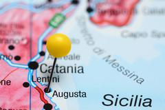Augusta pinned on a map of Italy Stock Photos