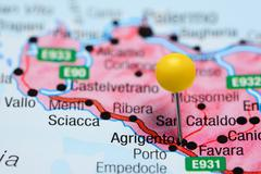 Agrigento pinned on a map of Italy - stock photo