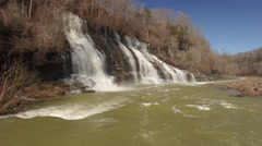 4k Aerial Winter Tennessee Waterfall 001 Fly By Stock Footage