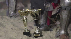 Rewarding the knights. Reenactment of historical action, medieval tournament Stock Footage