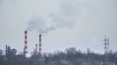Industrial smoke pipes, grey landscape pollution in city Stock Footage