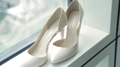 White shoes of the bride close-up Stock Footage