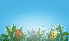 Easter Eggs on Springtime Meadow - stock illustration