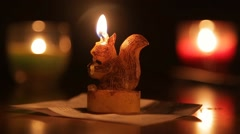 squirrel shape candle - stock footage