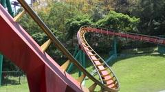 Roller coaster of Janfusun Fancyworld, Jian Hu Shan Theme Park in Yunlin, Taiwan - stock footage