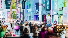 Seoul City Myeong-dong Shopping Area Night Timelpase Stock Footage
