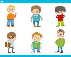 kid boys characters cartoon set - stock illustration
