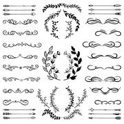 Set of Doodle Design Elements. Stock Illustration