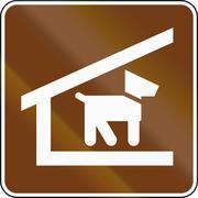United States MUTCD guide road sign - Trail shelter with dogs allowed - stock illustration
