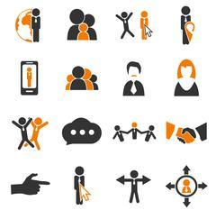 Community icons set Stock Illustration